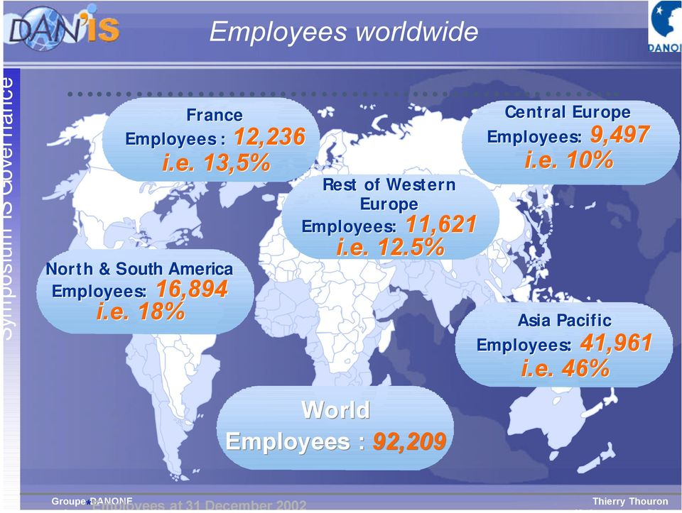 5% World Employees : 92,209 Central Europe Employees: 9,497 i.e. 10% Asia Pacific Employees: 41,961 i.