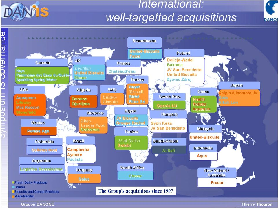 International: well-targetted acquisitions Italy United- Biscuits France Châteaud eau United-Biscuits Fazer Turkey Hayat Tikvesl i Birtat Flora Su Egypt Tunisia Stial Delice Sotubi Scandinavia JV