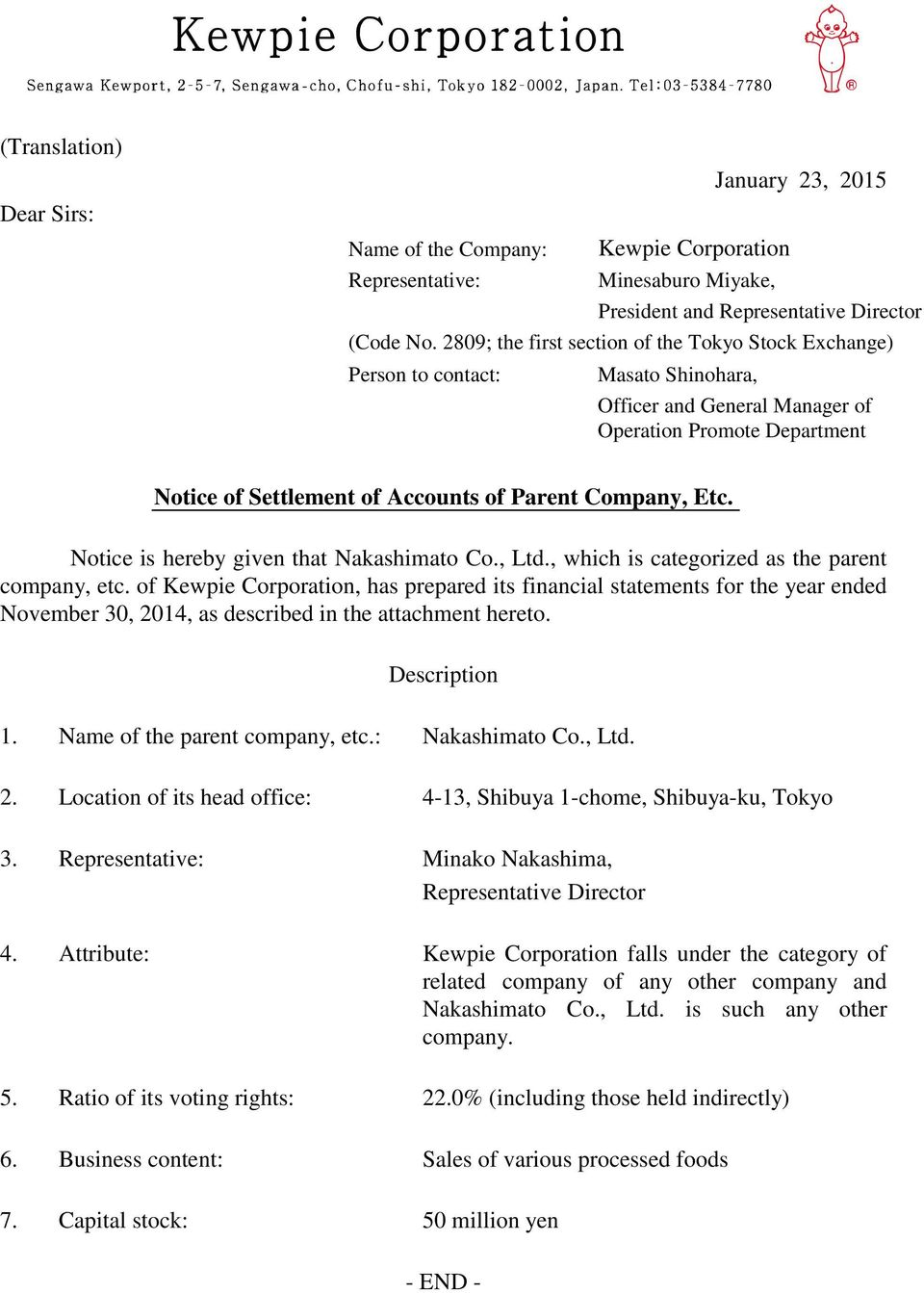 Company, Etc. Notice is hereby given that Nakashimato Co., Ltd., which is categorized as the parent company, etc.