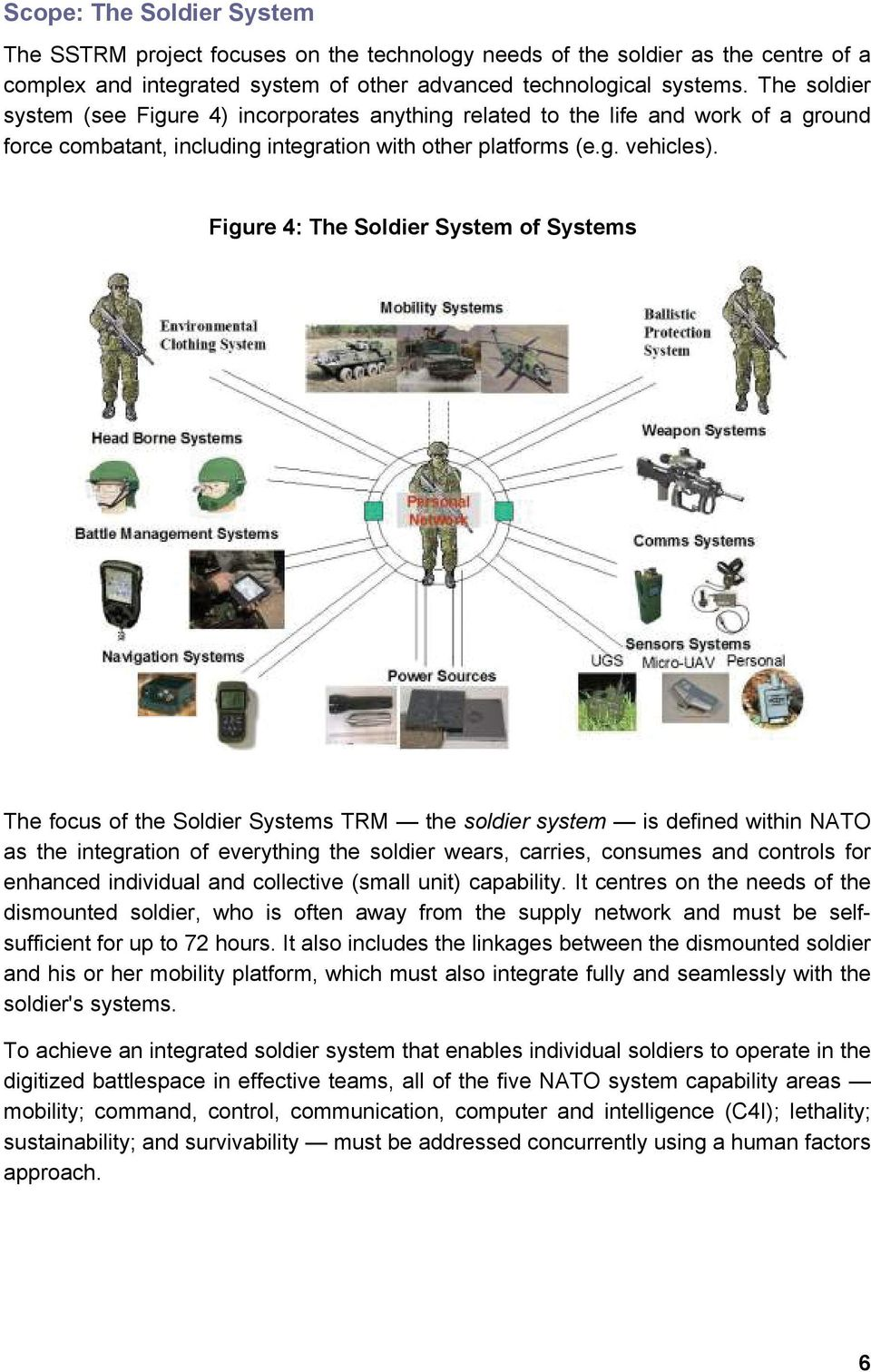 Figure 4: The Soldier System of Systems The focus of the Soldier Systems TRM the soldier system is defined within NATO as the integration of everything the soldier wears, carries, consumes and