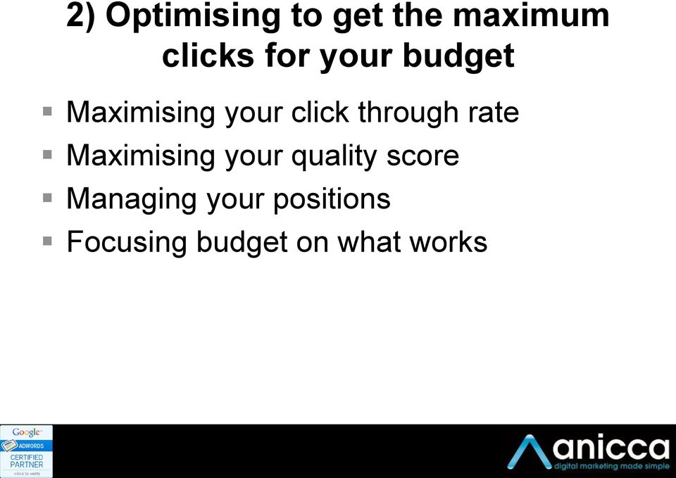 rate Maximising your quality score Managing