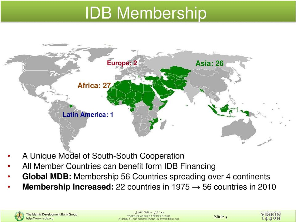 IDB Financing Global MDB: Membership 56 Countries spreading over 4 continents