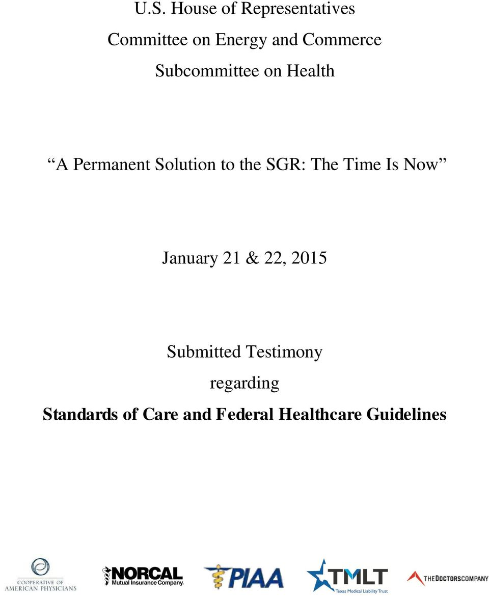 SGR: The Time Is Now January 21 & 22, 2015 Submitted
