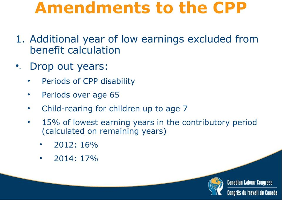 Drop out years: Periods of CPP disability Periods over age 65
