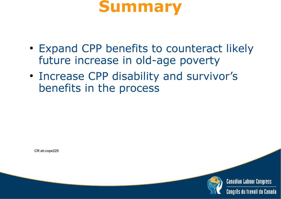 old-age poverty Increase CPP disability
