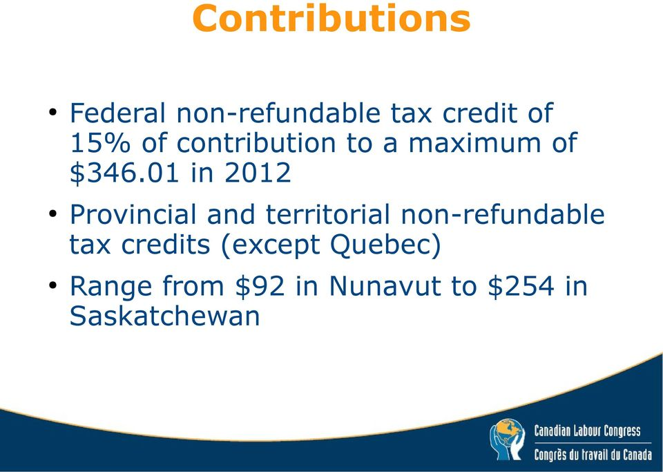 01 in 2012 Provincial and territorial non-refundable