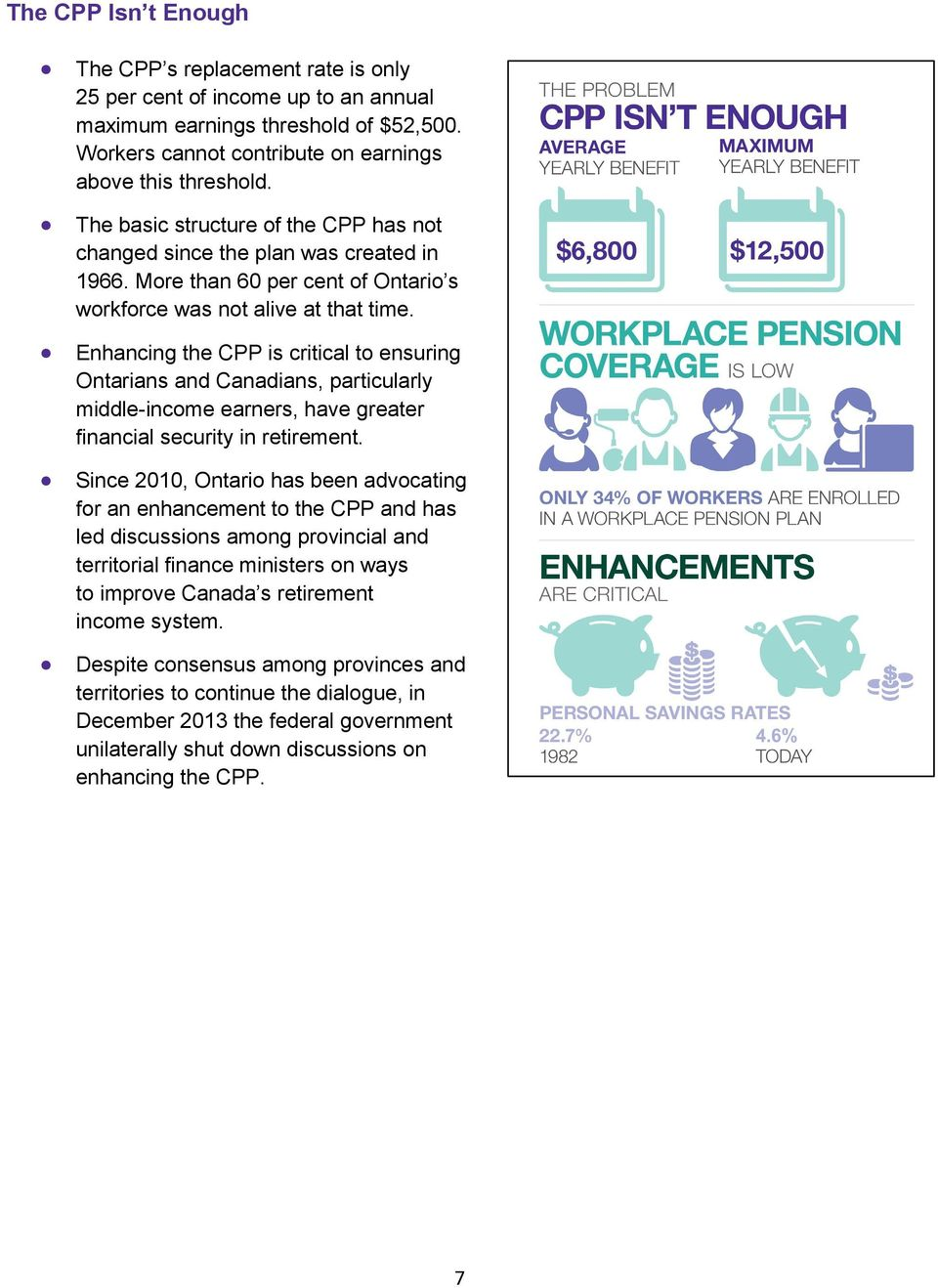 Enhancing the CPP is critical to ensuring Ontarians and Canadians, particularly middle-income earners, have greater financial security in retirement.
