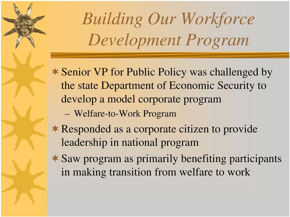 Welfare-to-Work Program Responded as a corporate citizen to provide leadership in