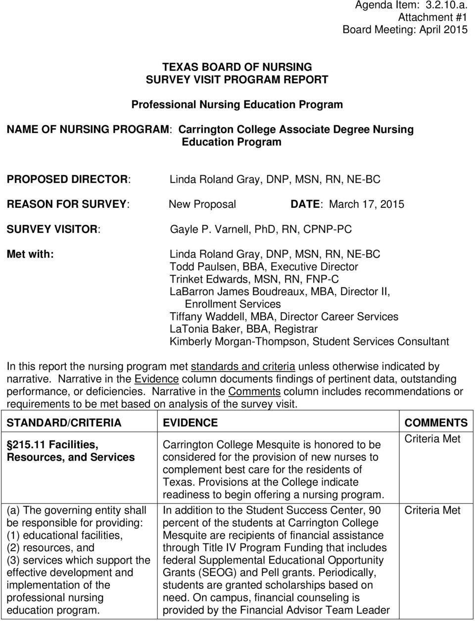 Attachment #1 Board Meeting: April 2015 TEXAS BOARD OF NURSING SURVEY VISIT PROGRAM REPORT Professional Nursing Education Program NAME OF NURSING PROGRAM: Carrington College Associate Degree Nursing
