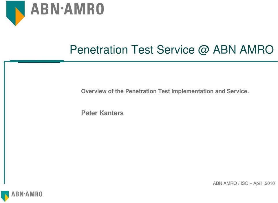 Test Implementation and Service.
