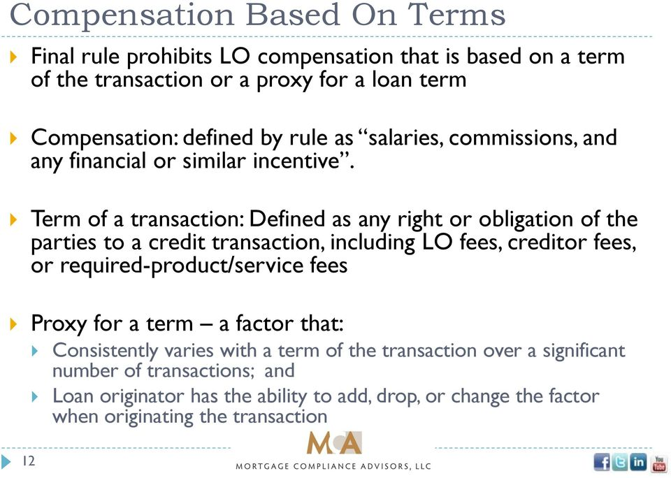 Term of a transaction: Defined as any right or obligation of the parties to a credit transaction, including LO fees, creditor fees, or