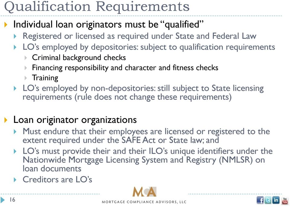 licensing requirements (rule does not change these requirements) Loan originator organizations Must endure that their employees are licensed or registered to the extent required under