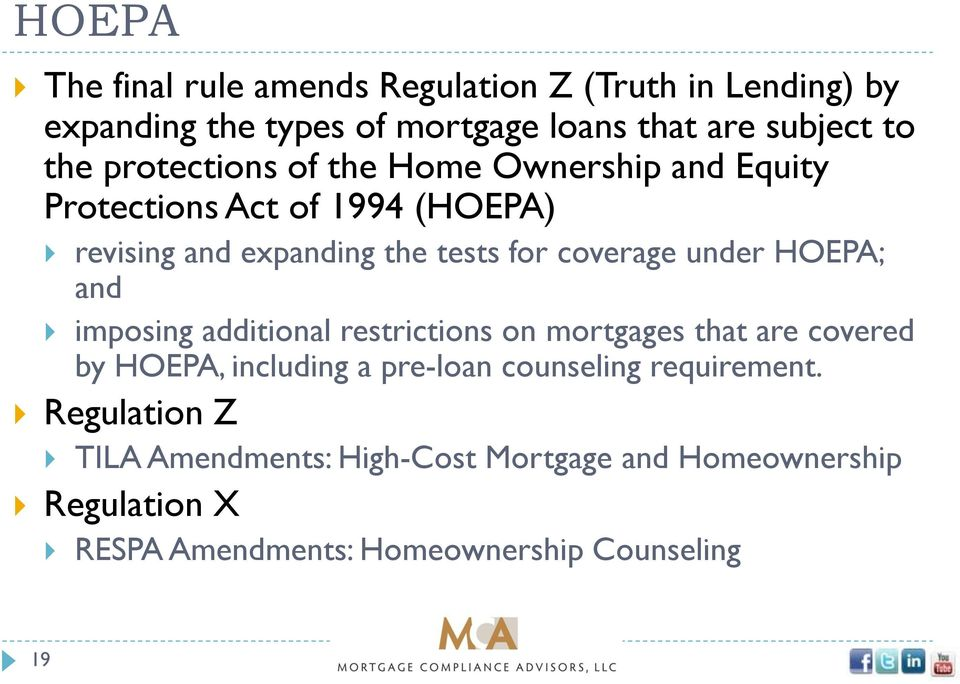 under HOEPA; and imposing additional restrictions on mortgages that are covered by HOEPA, including a pre-loan counseling
