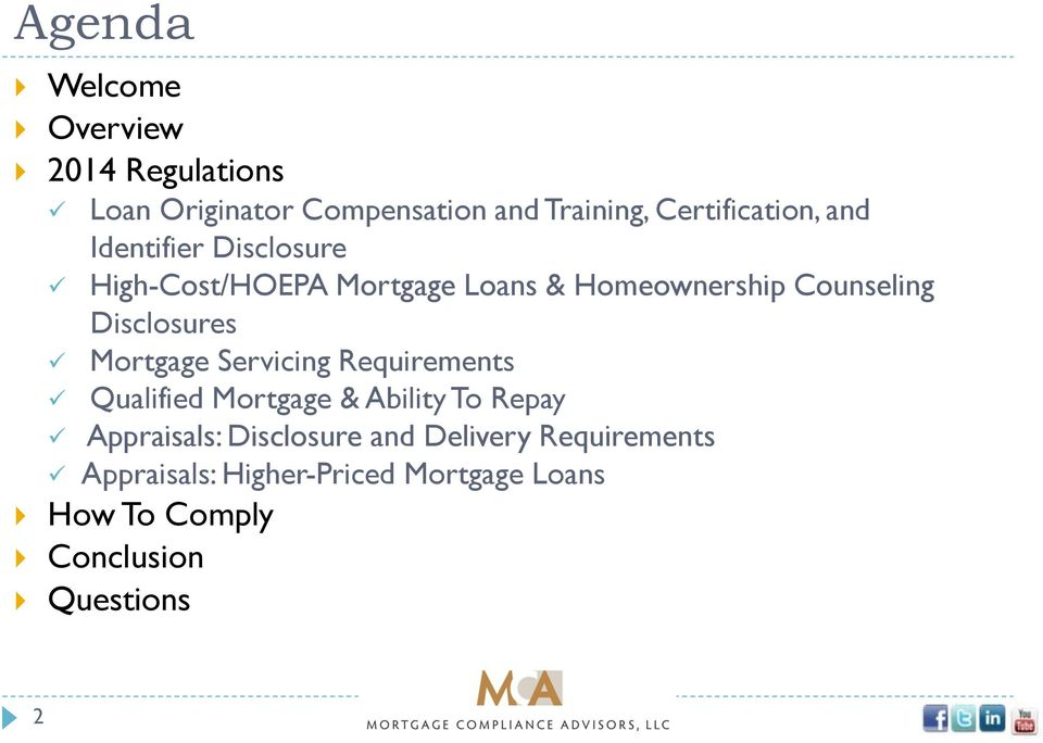 Counseling Disclosures Mortgage Servicing Requirements Qualified Mortgage & Ability To Repay