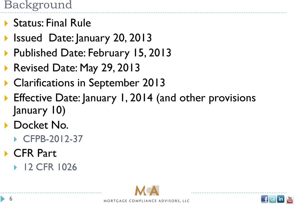 Clarifications in September 2013 Effective Date: January 1, 2014