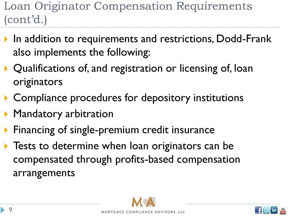 and registration or licensing of, loan originators Compliance procedures for depository institutions