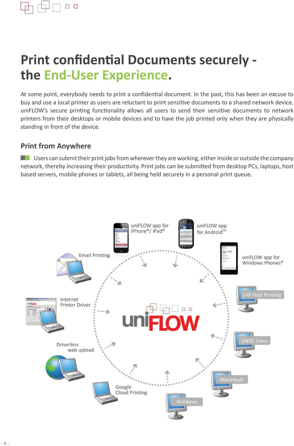 uniflow s secure printing functionality allows all users to send their sensitive documents to network printers from their desktops or mobile devices and to have the job printed only when they are