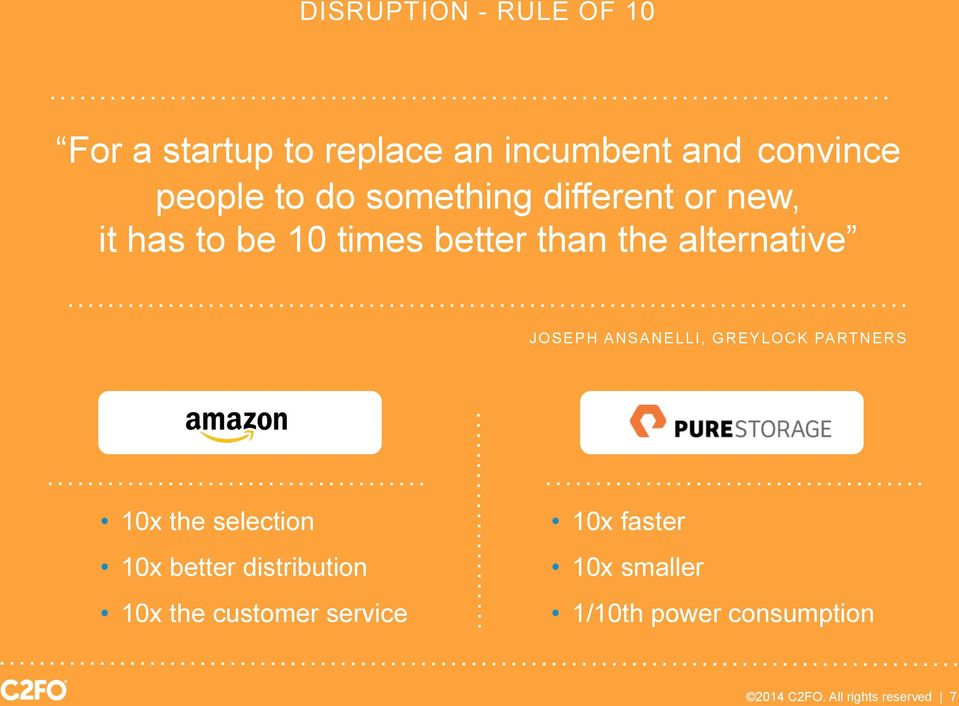 ANSANELLI, GREYLOCK PARTNERS 10x the selection 10x better distribution 10x the customer