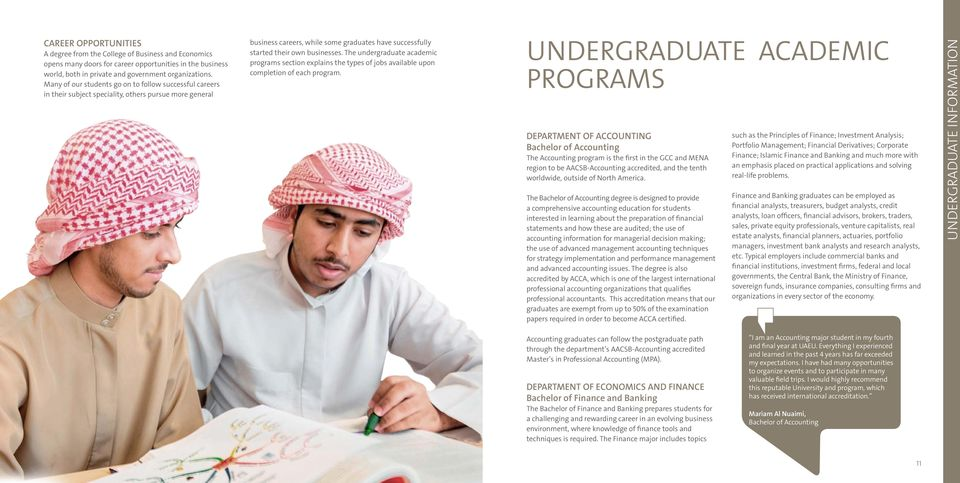 The undergraduate academic programs section explains the types of jobs available upon completion of each program.