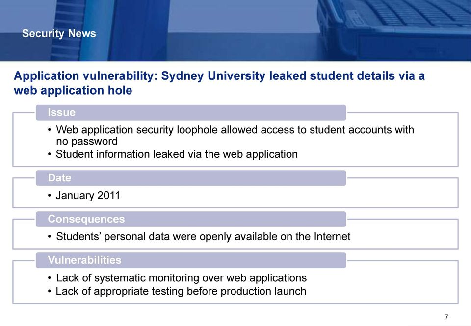 the web application Date January 2011 Consequences Students personal data were openly available on the Internet