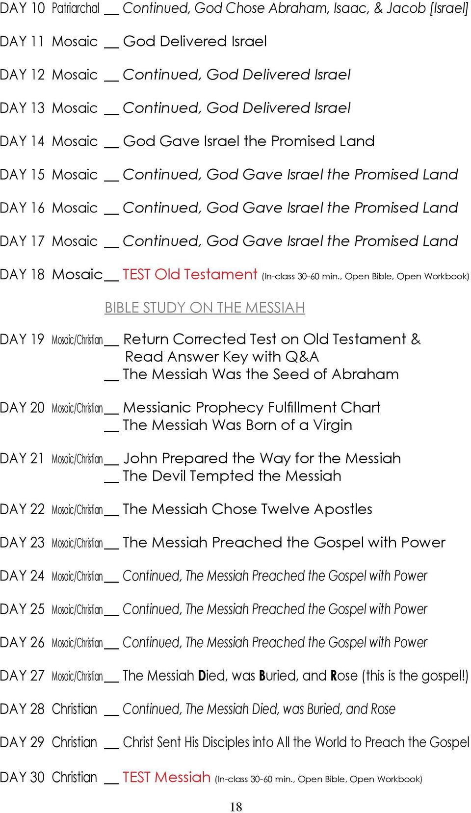 Israel the Promised Land DAY 18 Mosaic TEST Old Testament (In-class 30-60 min.