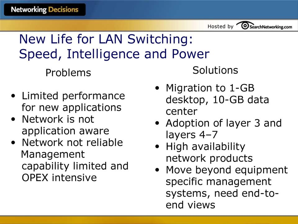 OPEX intensive Hosted by Solutions Migration to 1-GB desktop, 10-GB data center Adoption of layer 3 and