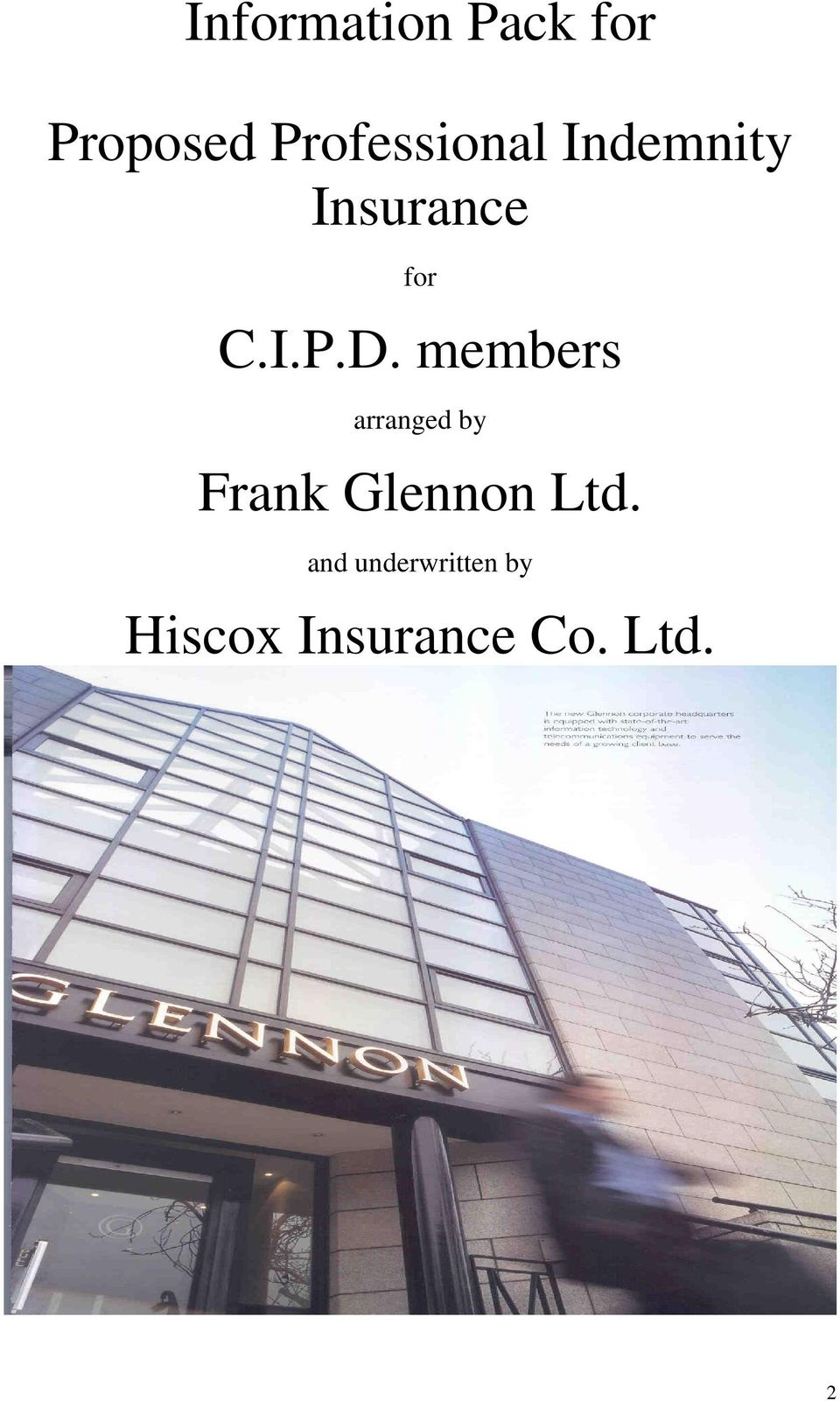 members arranged by Frank Glennon Ltd.