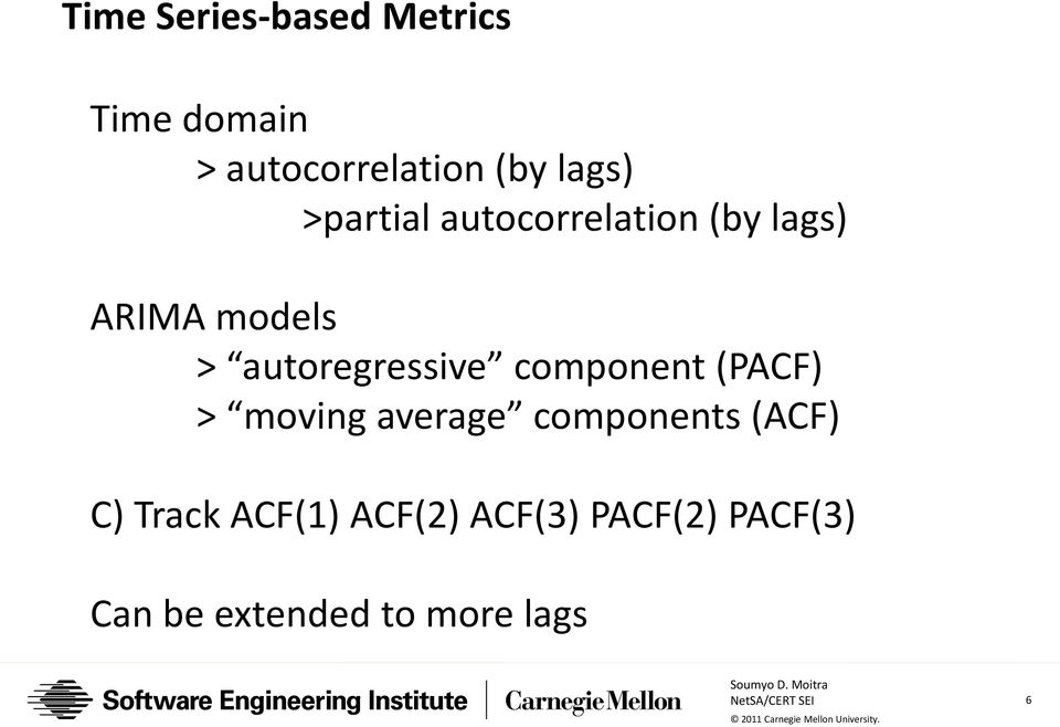 autoregressive component (PACF) > moving average components