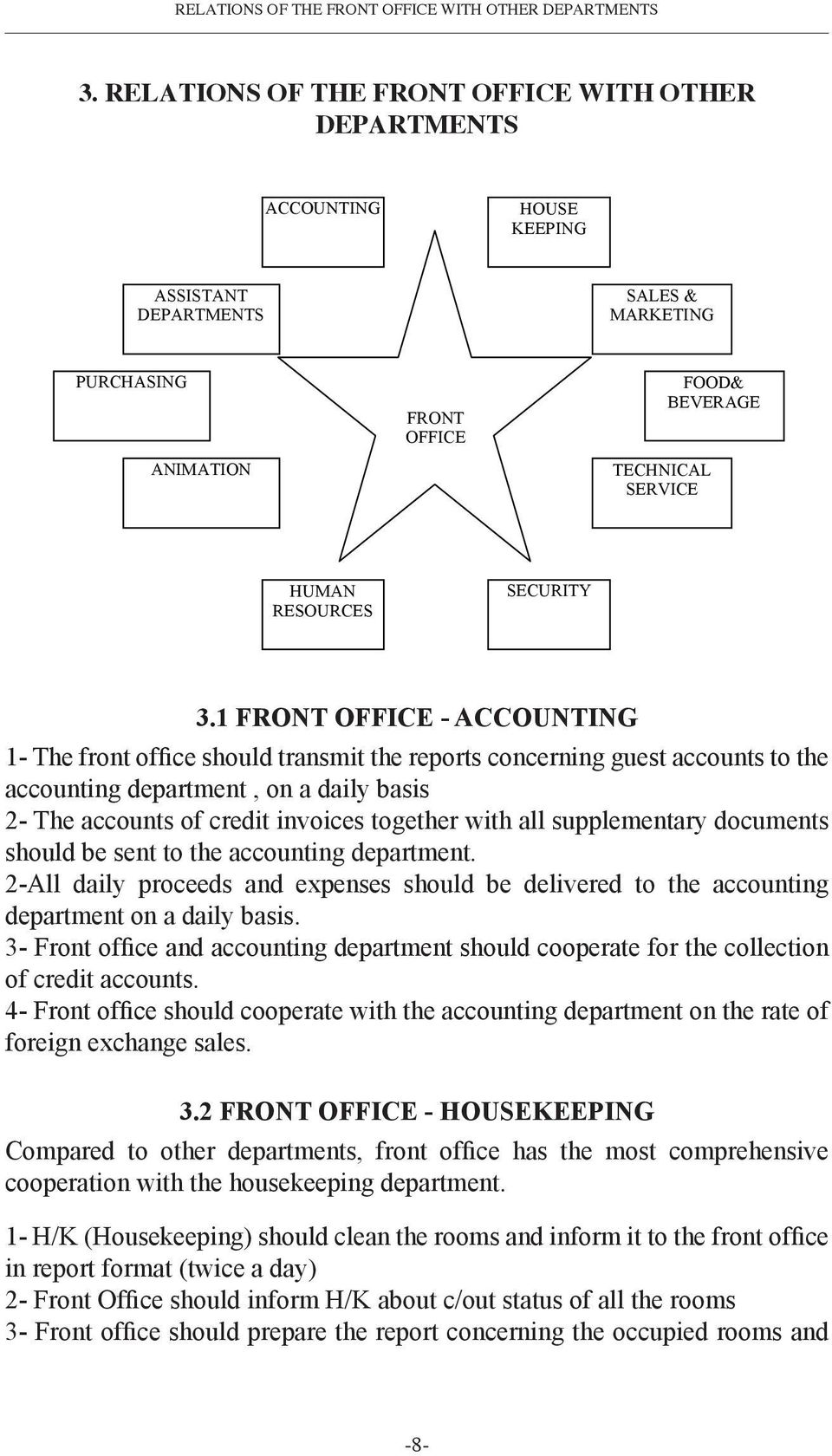 RELATIONS OF THE FRONT OFFICE WITH OTHER DEPARTMENTS RELATIONS OF THE FRONT OFFICE WITH OTHER DEPARTMENTS ACCOUNTING HOUSE KEEPING ASSISTANT DEPARTMENTS SALES & MARKETING PURCHASING ANIMATION FRONT