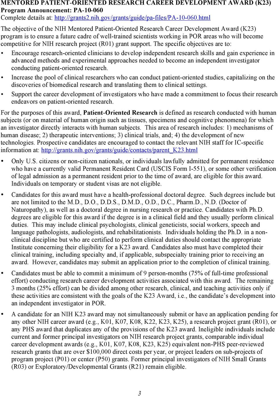 competitive for NIH research project (R01) grant support.