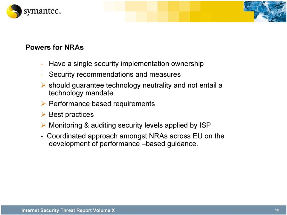 Performance based requirements Best practices Monitoring & auditing security levels applied by