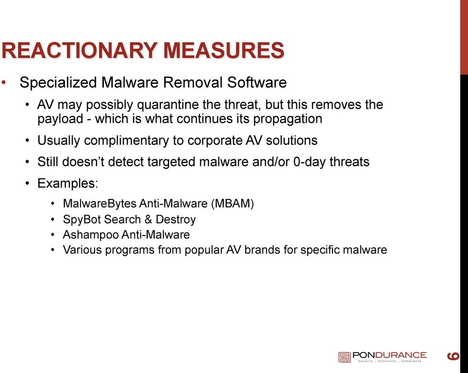 solutions Still doesn t detect targeted malware and/or 0-day threats Examples: MalwareBytes Anti-Malware