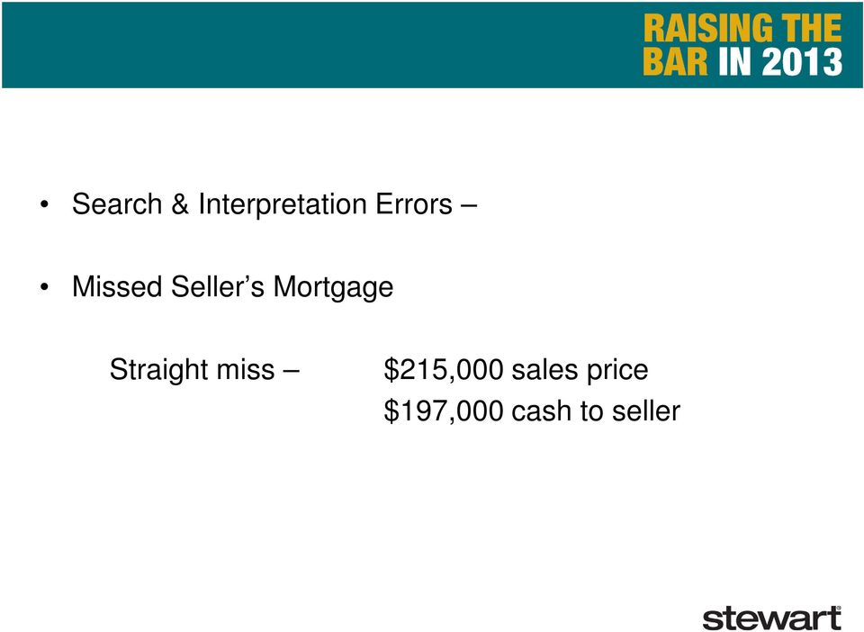 Mortgage Straight miss