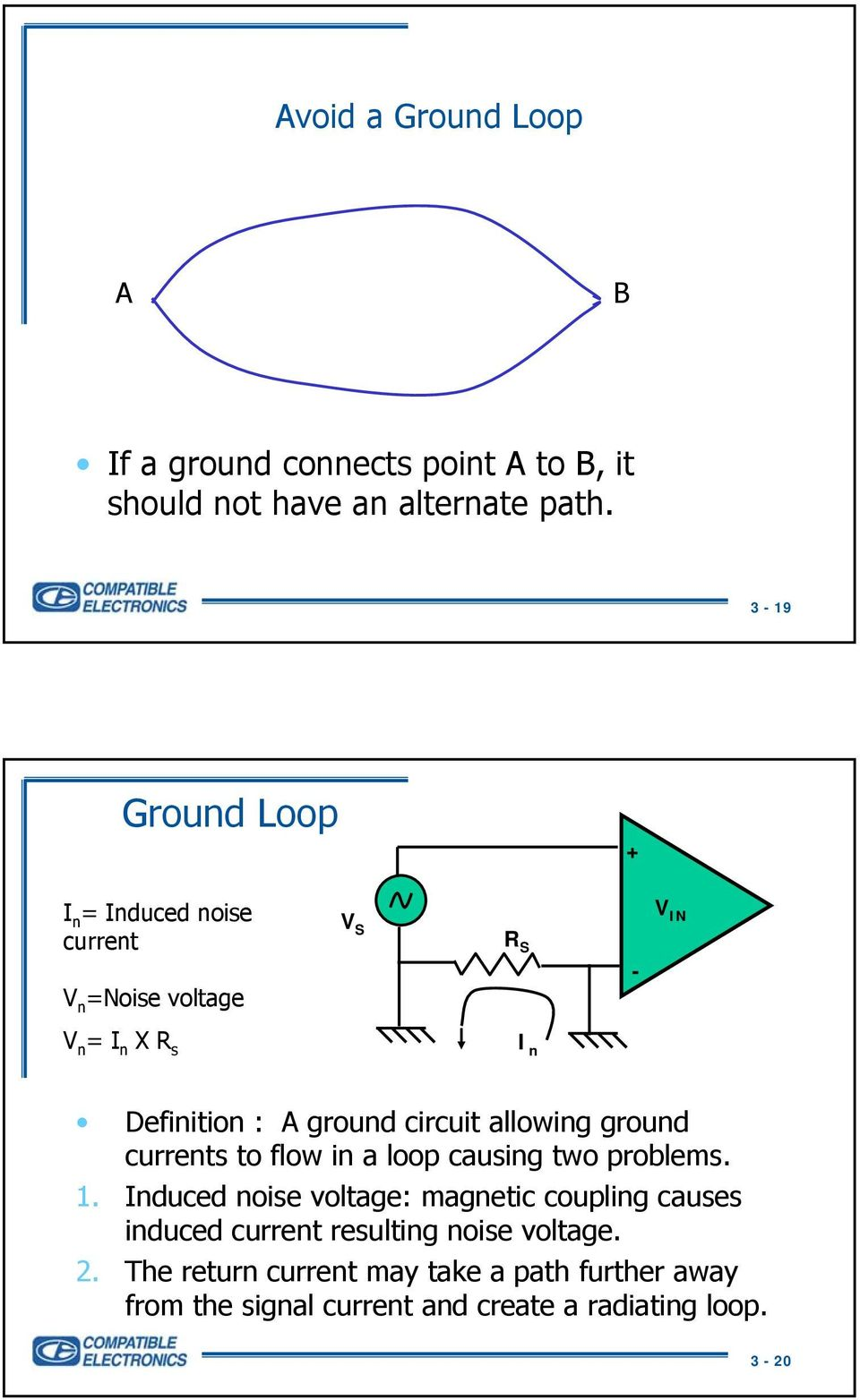 circuit allowing ground currents to flow in a loop causing two problems. 1.