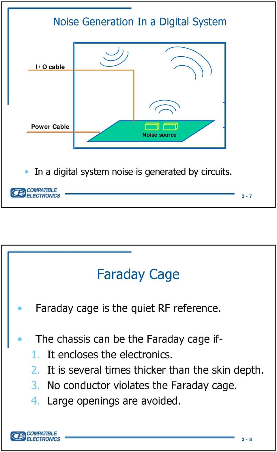 The chassis can be the Faraday cage if- 1. It encloses the electronics. 2.