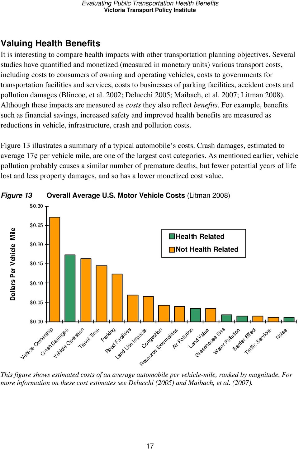 transportation facilities and services, costs to businesses of parking facilities, accident costs and pollution damages (Blincoe, et al. 2002; Delucchi 2005; Maibach, et al. 2007; Litman 2008).