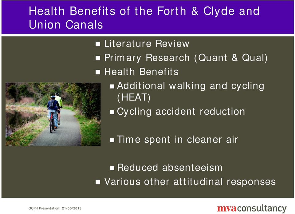 walking and cycling (HEAT) Cycling accident reduction Time spent