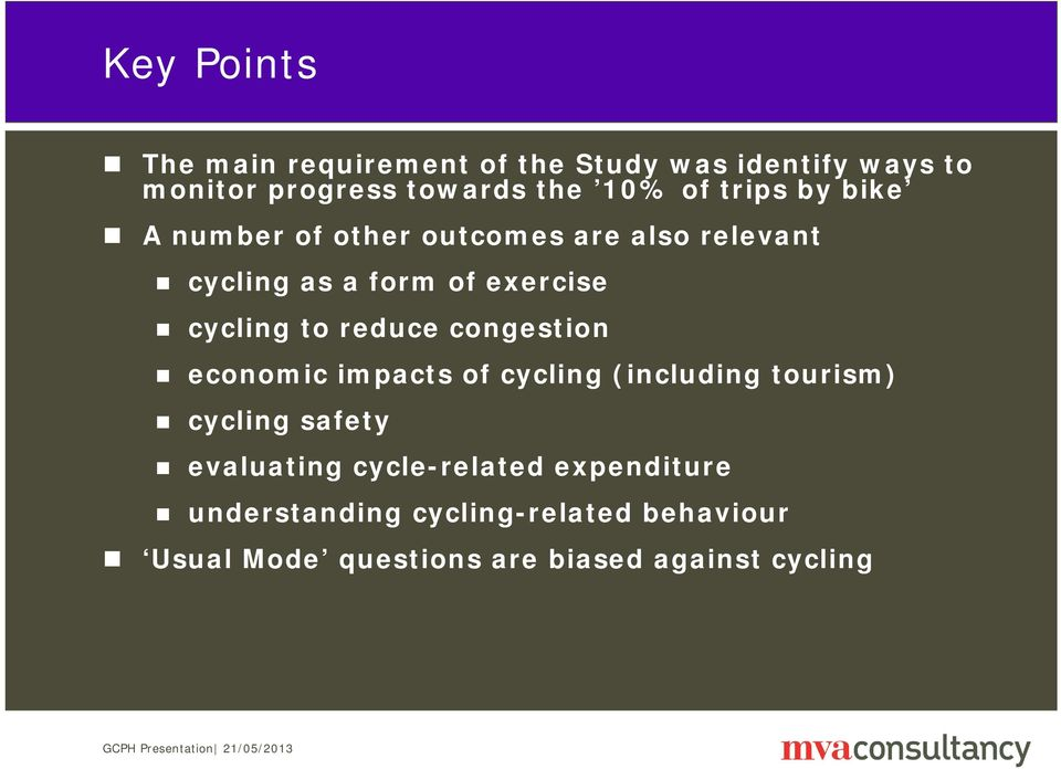 reduce congestion economic impacts of cycling (including tourism) cycling safety evaluating