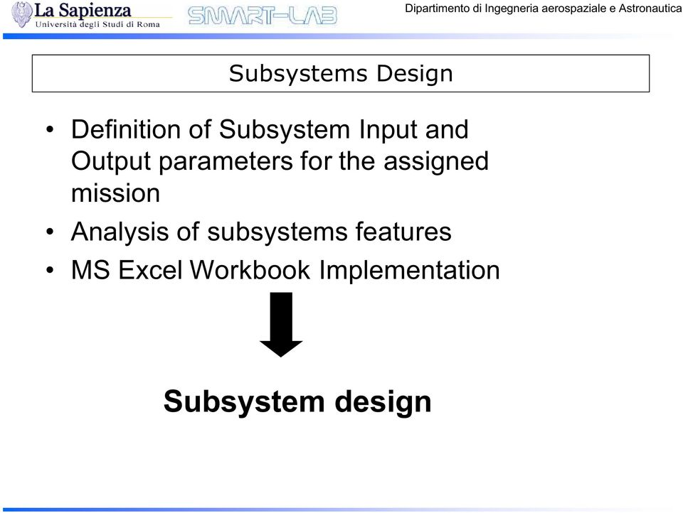 assigned mission Analysis of subsystems