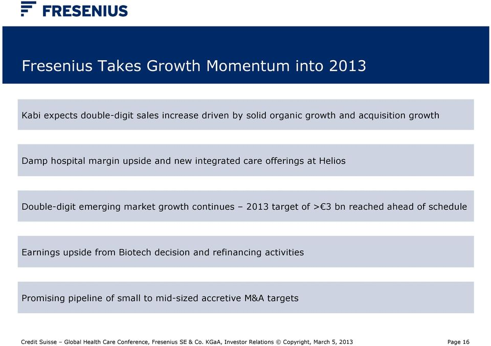 Double-digit emerging market growth continues 2013 target of > 3 bn reached ahead of schedule Earnings upside