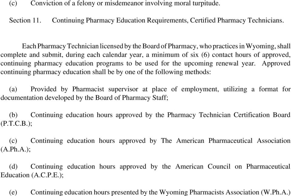 pharmacy education programs to be used for the upcoming renewal year.