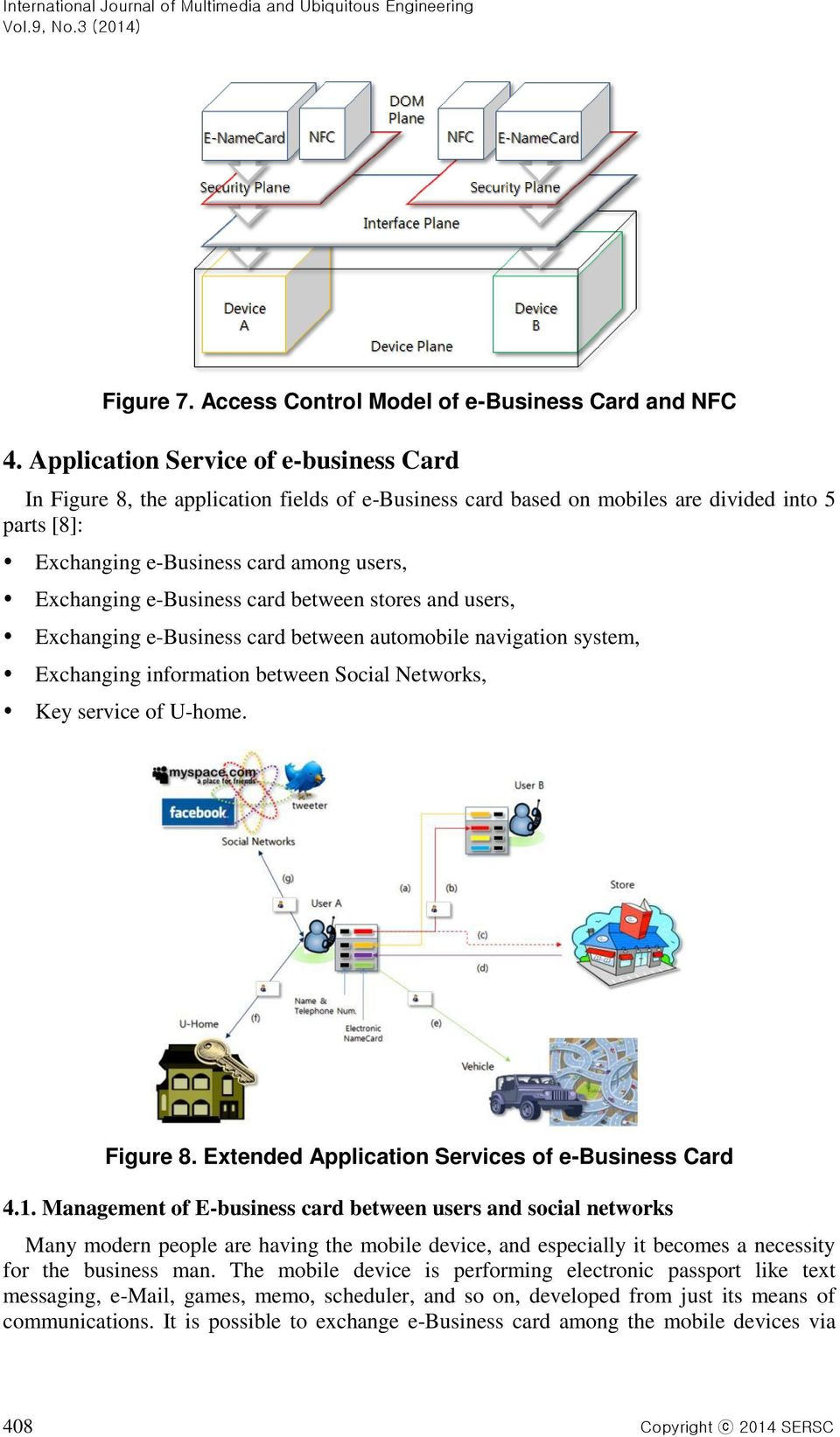 e-business card between stores and users, Exchanging e-business card between automobile navigation system, Exchanging information between Social Networks, Key service of U-home. Figure 8.