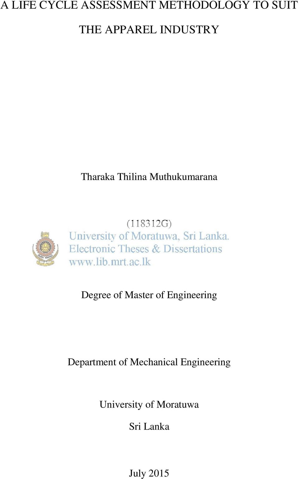 (118312G) Degree of Master of Engineering Department