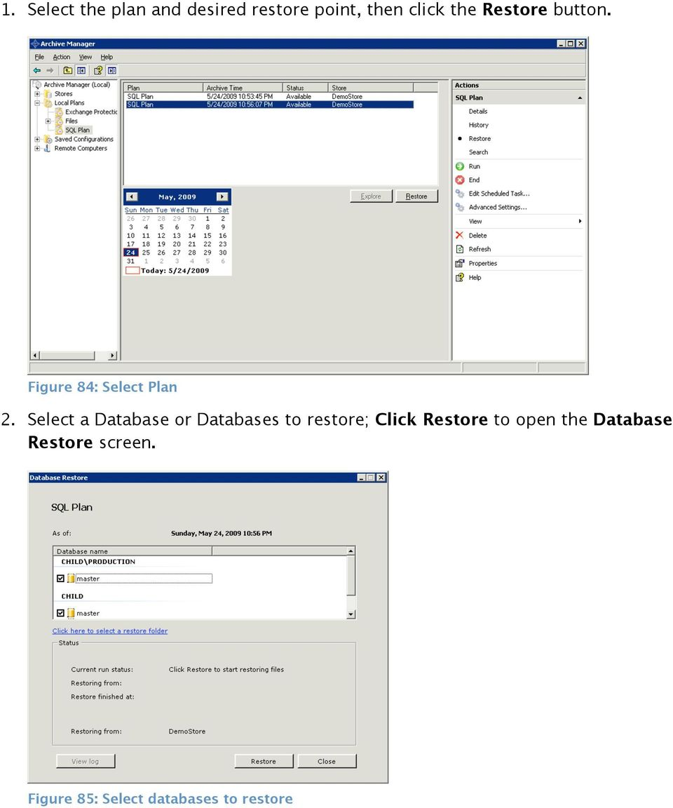 Select a Database or Databases to restore; Click Restore