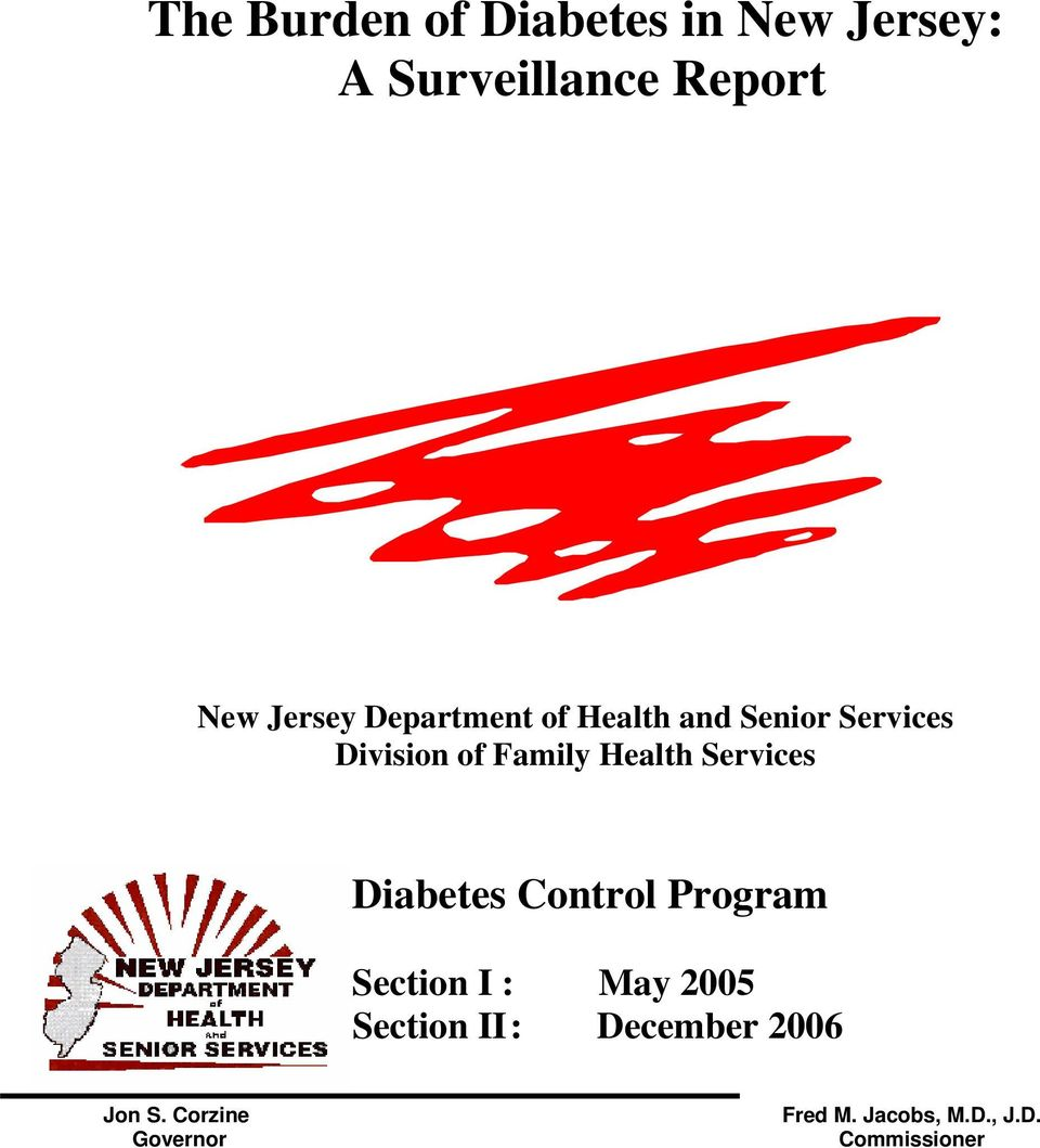 Services Diabetes Control Program Section I : May 2005 Section II :