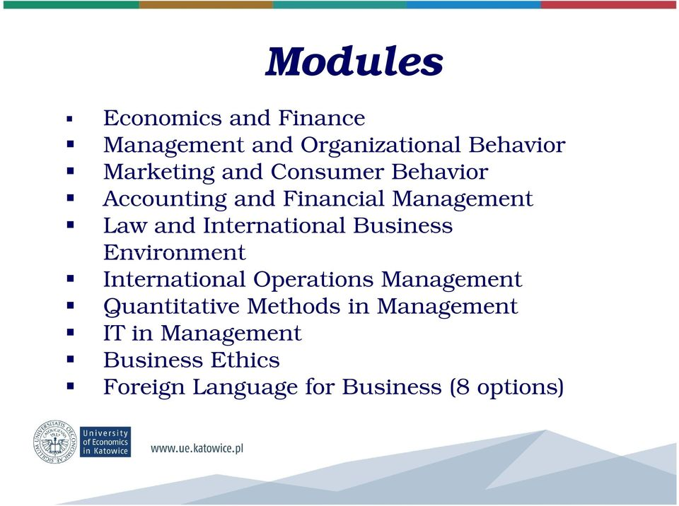 Business Environment International Operations Management Quantitative Methods in