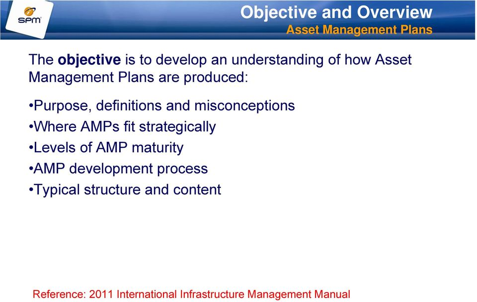 Where AMPs fit strategically Levels of AMP maturity AMP development process