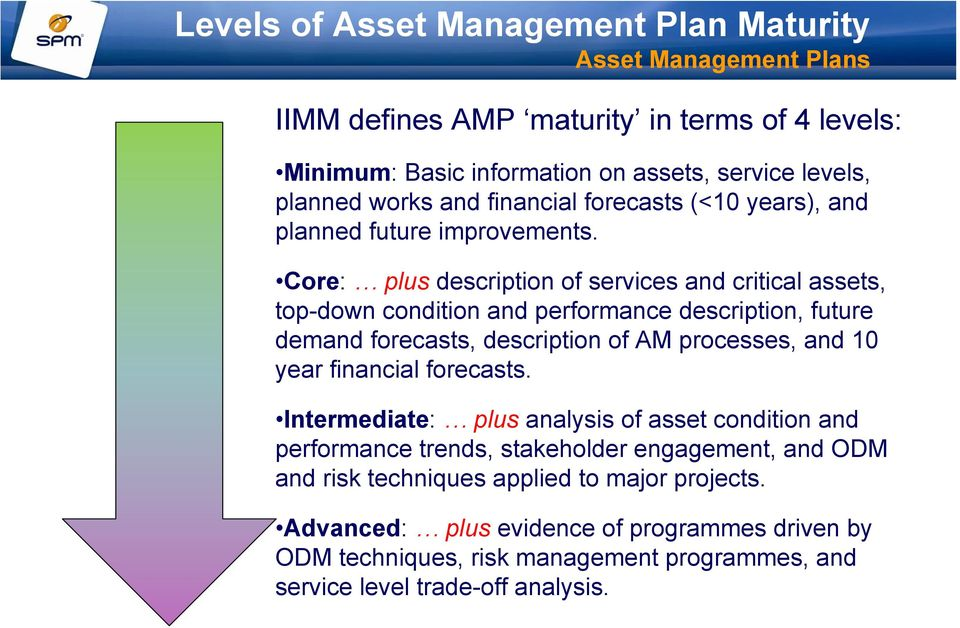 Core: plus description of services and critical assets, top-down condition and performance description, future demand forecasts, description of AM processes, and 10 year