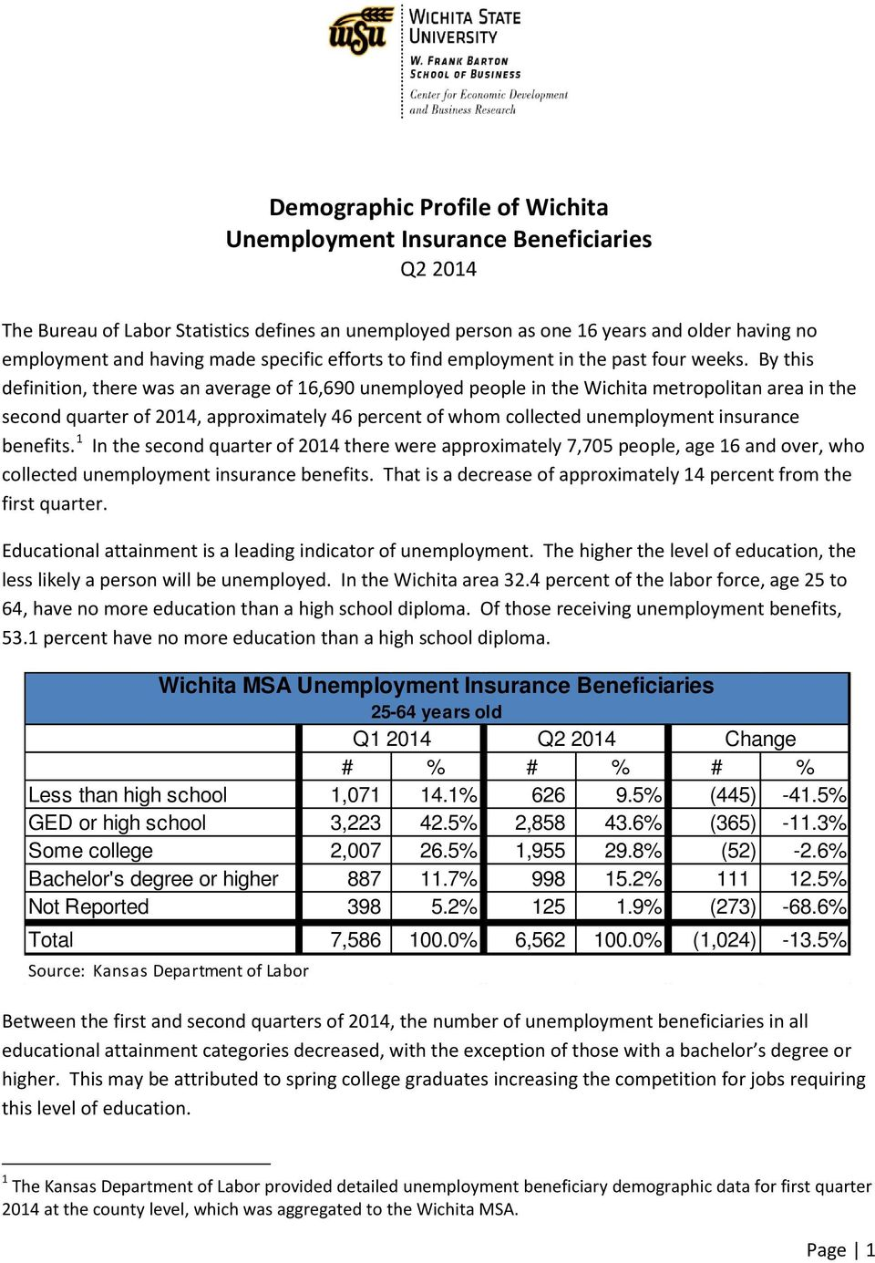 By this definition, there was an average of 16,690 unemployed people in the Wichita metropolitan area in the second quarter of 2014, approximately 46 percent of whom collected unemployment insurance