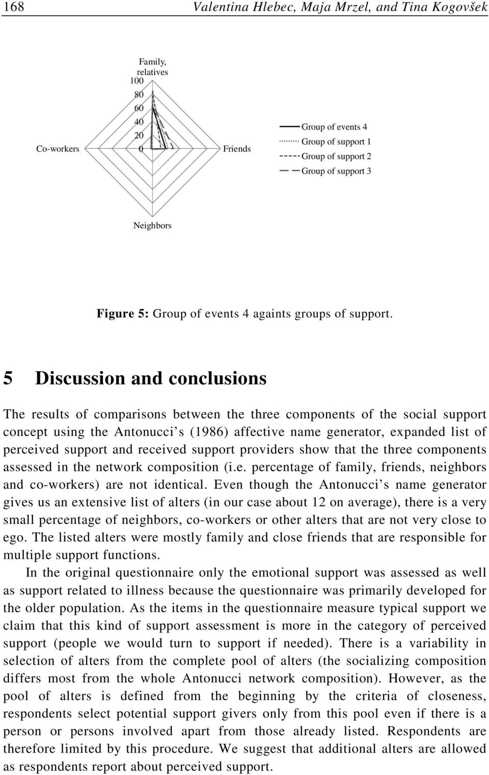 5 Discussion and conclusions The results of comparisons between the three components of the social support concept using the Antonucci s (1986) affective name generator, expanded list of perceived